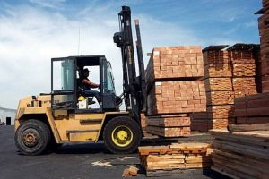 Forklift in Lumber Yard